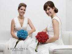 Ramos de novia en azul y en rojo. #BdeBlanca #Bodamás #elcorteingles #bodas #novias