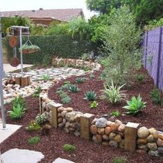Rocks in fencing for Retaining Wall