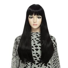DAOTS Wig Long Straight Black Wigs for Women, Free Wig Ca...