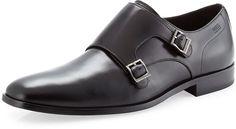 $225, Mattion Double Monk Strap Loafer Black by Hugo Boss. Sold by Last Call by Neiman Marcus. Click for more info: http://lookastic.com/men/shop_items/4486/redirect