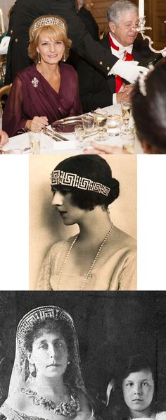 The Romanian Greek Key Tiara. Princess Victoria became Grand Duchess Viktoria Feodorovna (top) after her second marriage to Grand Duke Cyril Vladimirovich of Russia in 1905. This tiara is said that he presented her it. In exile after the revolution, she sold her tiara to her sister Queen of Romania. Queen was subsequently presented to Helen (middle), the bride of her son Carol in 1921. Bottom: Princess Margareta of Romania. Royal Crowns, Royal Tiaras, Tiaras And Crowns, Queen Victoria Family, Princess Victoria, Poltimore Tiara, Greek Royalty, Grand Duchess Olga, Princess Alexandra