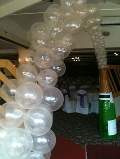 Balloons champagne balloon wall pinterest balloon wall for Champagne balloon wall