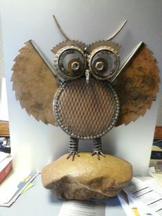 Owl I made for my wife out of all recycled parts we found while cleaning out her dad's barn.