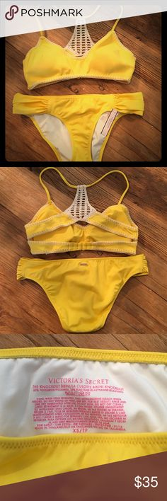 Victoria's Secret Yellow Crochet Bikini ADORABLE!  Brand new with tags yellow crochet bikini.  Bought for a cruise but never ended up going. Bottoms are XS. Hygienic liner still attached.  Top is S and has removable lining.  I'm a 34C and I think this could honestly fit someone slightly larger breasted, Not smaller.  Yellow is a gorgeous sunny yellow that makes you feel happy just looking at it:-). Crochet detail on back gives a hit of boho.  Back of top is also adjustable. Victoria's Secret…