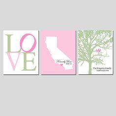 Baby Girl Nursery Art Trio  Set of Three 8x10 Prints  by Tessyla