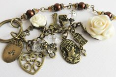 Personalized beaded keychain with charms initial by romanticcrafts