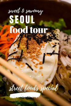 You want to try Korean street foods in Seoul but do not know what to eat & where? Here's an article that will give you all the deets like, where to eat Tteokbokki, where to eat Mayak Kimbap, where to eat Bibimbap, etc. Take a sweet & savoury Seoul food tour & experience the delights of tasting some of the best Korean street food out there, delicious & authentic. Hit night street food markets such as Gwangjang Market or look for the indivudual stalls mentioned in the article; but DO try them… Street Food Market, Tteokbokki, Kimbap, Korean Street Food, Unique Restaurants, Food Out, Best Places To Eat, Stalls, Special Recipes