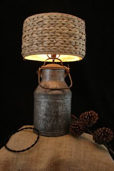 Upcycled Vintage Galvanized Dairy Farm Cream Can by BenclifDesigns, $92.00. This could probably be used for a hanging light.