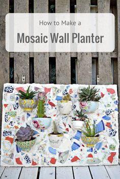 Don't throw away your beautiful broken plates and bowls why not upcycle them into a mosaic wall planter for your succulents or bedding plants. Diy Planters, Hanging Planters, Hanging Baskets, Mosaic Planters, Mosaic Garden Art, Decorative Planters, Mosaic Projects, Diy Projects, Reuse Wine Bottles