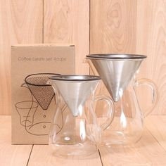 Lab Glass / Stainless Pour-Over Coffee Set
