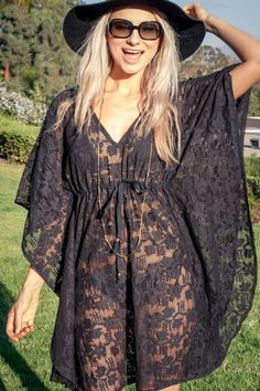 Beach Cover Up Boho Caftan Lace Poncho Gypsy by BlondeVagabond Summer Wear, Summer Outfits, Vegas Outfits, Club Outfits, Club Dresses, Mode Kimono, Moda Boho, Normcore, Swimsuit Cover Ups