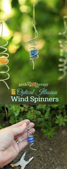 This easy-to-make garden decoration spins in the wind, creating a mesmerizing optical illusion where it looks as if the marble is spinning up and down the wire coil surrounding it. I love to hang these in the garden because they bring interest and movement, and they dance and sparkle beautifully in the sun. #gardentherapy #gardendecor #diy