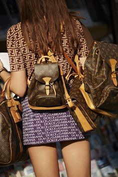 Louis Vuitton Monogram Backpack, Dolce Gabanna Namesake Mini Skirt - top coming soon! #nastygalvintage