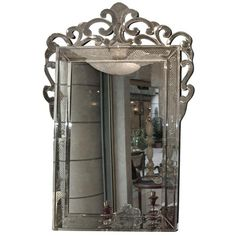 Large Venetian Mirror with Glass Scrolls Frame