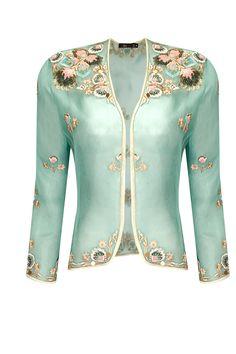 Mint folk flower embroidered organza jacket by Dev R Nil. Shop now: http://www.perniaspopupshop.com/designers/dev-r-nil #jacket #devrnil #shopnow #perniaspopupshop