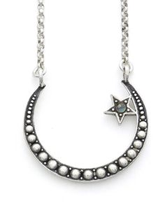 """""""Crescent Moon"""" Necklace by RockLove Jewelry (Silver) #InkedShop #star #crecentmoon #necklace #jewelry #style #fashion"""