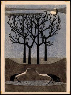 """Quiet Morning"" Tamami Shima, woodcut, 1958 ed. of 100"