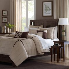 Enhance the look of your bedroom's decor with this khaki six-piece duvet cover set. The casual design of this duvet set offers an informal style you will love. This set is constructed of 100 percent polyester for easy care and maintenance.