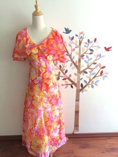 55d5e6a02a 70s Bright Pink Floral Chiffon Summer Dress S by HilltopVintageStore on  Etsy Floral Chiffon