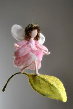 Flower Fairy Mobile Waldorf inspired needle felted ♡ by MagicWool