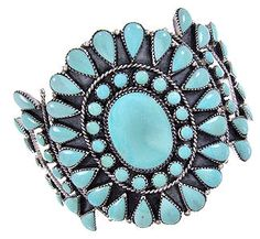 Southwest Turquoise And Silver Cuff Bracelet IS60923