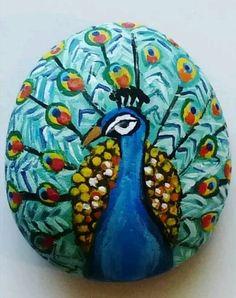 Peacock painted Rock