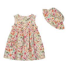 £12 bluezoo Babies cream floral dress and hat set- at Debenhams.com