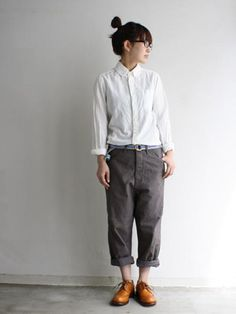 button down shoes, loose pants, oxfords.