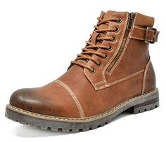 a5c21ee16bc66d Find the best prices on Bruno Marc Men s Brown Motorcycle Combat Oxford  Boots Size 12 M US and save money.