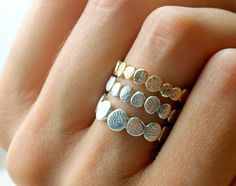 Gold and Silver Pebble Set ($205): The elegance of these pebble stacking rings is undeniable. I love the way they look as a mixed-metal set.