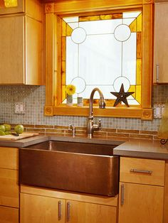 Today I am looking at stained glass in the kitchen. UPDATE: Eleanor Bird just sent me a photo of a stained glass kitchen door window to add to the post. Leaded Glass, Stained Glass Windows, Copper Farmhouse Sinks, Glass Kitchen, Kitchen Sink, Warm Kitchen, Kitchen Windows, Bois Diy, Kitchen On A Budget