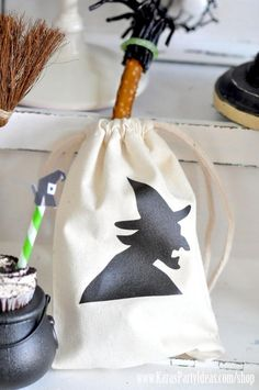 Halloween bags made with printable silhouette witch. Available in Kara's Party Ideas shop! www.KarasPartyIdeas.com/shop