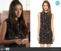 Emily's black star print shirtdress on Pretty Little Liars. Outfit Details: https://wornontv.net/56279/ #PLL