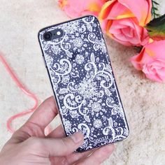 Black and white lace makes the best contrast{Available for iPhones Galaxy Moto} #galaxys5 #galaxys6 #galaxys7 #grandprime #instadaily #instamood #iphone #phonecase #samsung. Phone case by Gocase www.shop-gocase.com
