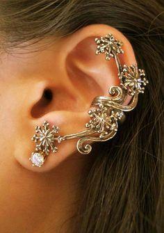 Star Ear Cuff Bronze Star Earring Starburst Ear Cuff by martymagic