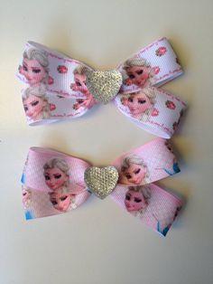 2 Pack Frozen Elsa Ribbon Hairbow Clip Birthday by OliverandMay