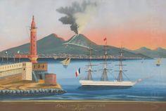 XIXe, Éruption du Vésuve de1871 à l'aube, depuis le phare de Naples,