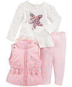 Nannette Little Girls' 3 Piece Sparkle Vest, Star Tee & Leggings Set