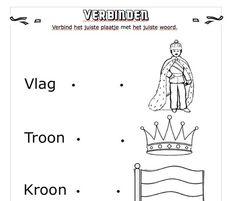 Leuk werkblad voor de onderbouw. 27 April, Kings Day, Holland, Preschool, Teaching, Creative, The Nederlands, Kid Garden, The Netherlands