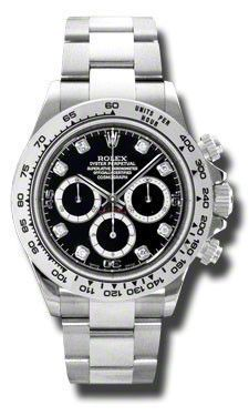Rolex Oyster Perpetual Cosmograph Daytona Watches. 40mm 18K white gold case, tachymeter engraved bezel, screw-down push buttons, black dial, diamond hour markers, and special Oysterlock bracelet.