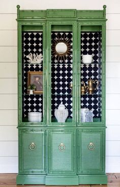 How to Achieve a Perfect, High Gloss Paint Finish! is part of Bar cabinet Makeover - This American of Martinsville faux bamboo china cabinet got a stunning makeover in high gloss green! After thoroughly sanding, prepping and priming this piece,… Redo Furniture, Green Painted Furniture, Green Furniture, Painted Furniture, Bamboo Furniture Design, Faux Bamboo, Furniture Makeover, China Cabinet, Beautiful Furniture