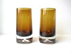 Mid Century Modern Bo Borgstrom Drinking Glasses Aseda Amber Glass Barware by HerVintageCrush on Etsy