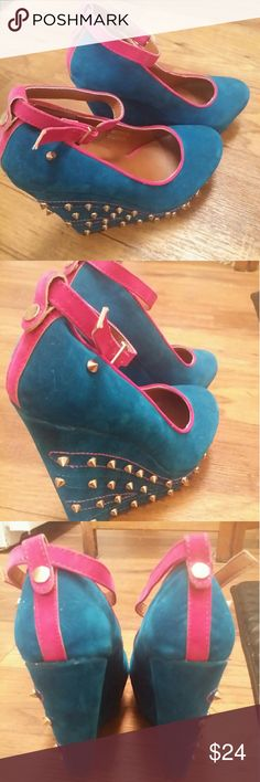 Sexy blue/pink wedge studded heels 6.5 Size 6.5,royal blue and hot pink velvet,studs on outside heel,removable ankle straps Aimee Kestenberg Shoes Wedges