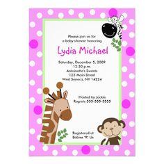JUNGLE ADVENTURE PINK Safari Baby Shower Personalized Invitation