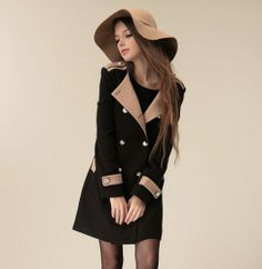 Graceful Fashion spell color Slim-Coat  Coat (Black,Khaki) Trench Coats from stylishplus.com