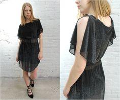 1970s black disco dress / silver metallic lurex sheer flutter sleeve sexy dress…