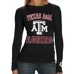 Texas A Aggies Ladies Black Distressed University Logo Long Sleeve T-shirt