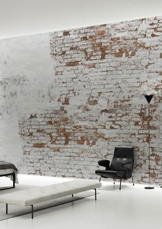 Home Design Inspiration - The Urbanist Lab - Create your own industrial wall in no time with this Plaster Brick Wall Wallpaper Mural by Behangfabriek, featuring small bricks behind white remainders of old plaster. White Brick Walls, Exposed Brick Walls, Old Brick Wall, Old Wall, Brick Wall Decor, White Bricks, Painted Brick Walls, Concrete Walls, Home Design