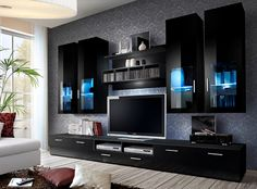 Modern Tv Room Designs Ideas With Presto Modern Wall Unit Entertainment Centre Spacious and Elegant Furniture TV Cabinets TV Stands for Modern Living Room (Black) - Home Garden Modern Tv Room, Modern Tv Wall Units, Modern Wall, Modern Living, Modern Tv Cabinet, Small Living, Tv Cabinet Design, Tv Unit Design, Living Room Wall Units