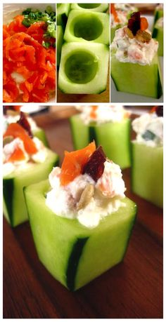 3 tablespoons goat cheese and a spoonful of sour cream. Mix well, add 2-3 slices of smoked salmon and 1-2 tablespoons green onions,   Used 2 large cucumbers cut into pieces of 4-5 cm. Scoop with a spoon (about 2/3 in depth) and cut them so as to become cubic.